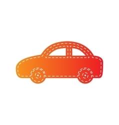 Car sign orange applique isolated vector