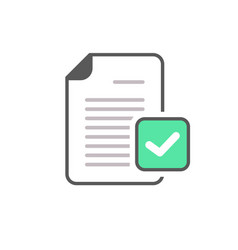 check mark document file page verified icon vector image