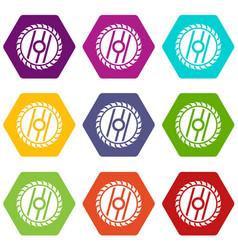 Circular saw blade icon set color hexahedron vector