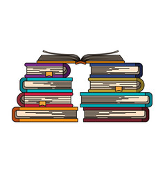 colorful image of stack of books with open book in vector image