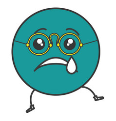 crying emoticon face character icon vector image