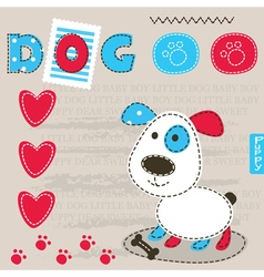 Cute baby background with dog 2 vector image vector image