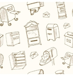 Doodle postboxs eamless patternvintage vector