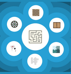 flat icon entertainment set of arrow chess table vector image