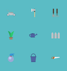 Flat icons fence bucket spray bottle and other vector