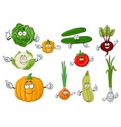 Fresh and tasty cartoon farm vegetables vector