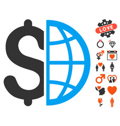 Global business icon with valentine bonus vector