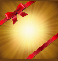 golden sunburst with red ribbon and bow vector image vector image