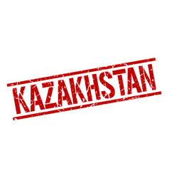 Kazakhstan red square stamp vector