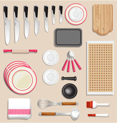 Kitchenware and tool icon set vector image