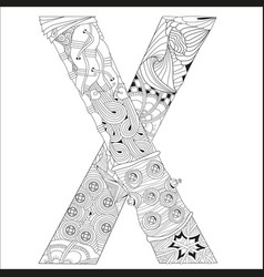 letter x for coloring decorative zentangle vector image vector image