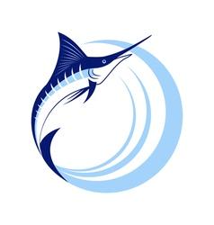 Marlin fish with sea waves vector