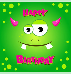 monster party card design happy birthday card vector image vector image