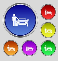 Person up hailing a taxi icon sign round symbol on vector