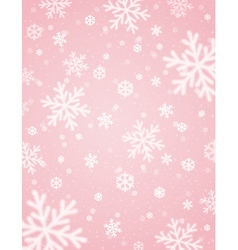 Pink background with white blurred snowflakes vector