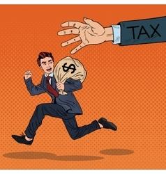 Pop Art Businessman Escapes Taxes with Money Bag vector image