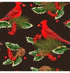 Seamless cardinal and holly vector image vector image