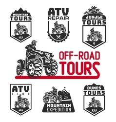 Set of atv vehicle logo and emblems all-terrain vector