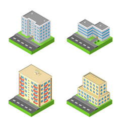 set of isometric block houses vector image