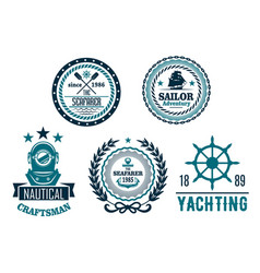 set of nautical anchor or marine helm icons vector image vector image