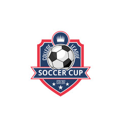 Soccer college football cup ball badge icon vector