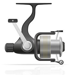 spinning reel vector image