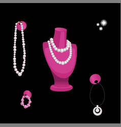 Stand showcase with various jewelry isolated on vector