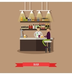 Visitors drink beer in a bar restaurant interior vector