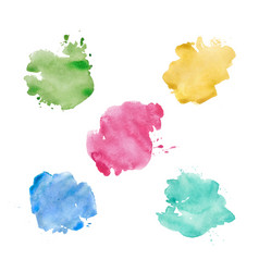 Watercolor spots set realistic bright colorful vector