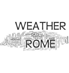 Weather in rome text word cloud concept vector