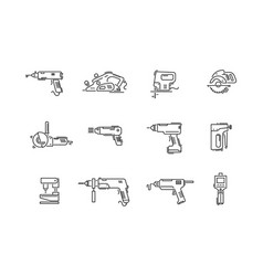 Working tools for construction and repair line vector