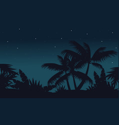 at night palm on jungle scenery vector image