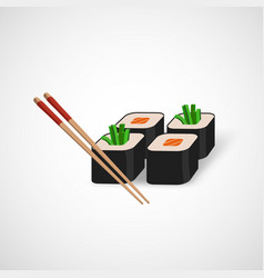 Sushi icon and chopsticks vector