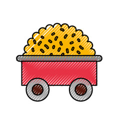 Farm wagon with straw vector