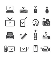 Big data icon set wireless technology vector