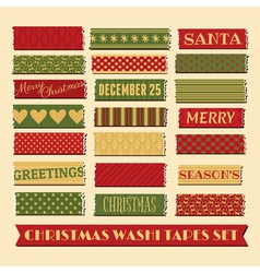 Christmas washi tape strips collection vector