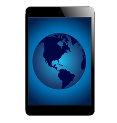 Tablet with globe vector
