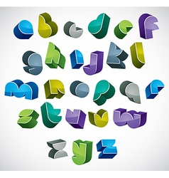 3d colorful letters futuristic alphabet vector