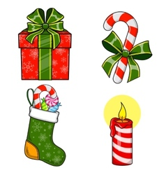 Christmas and new year objects vector