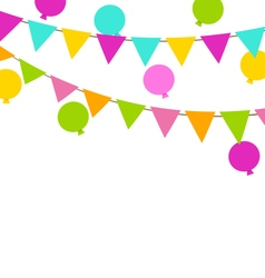Simple multicoloredl buntings flags and balloons vector