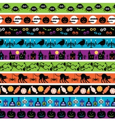 bright halloween border patterns vector image