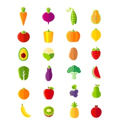 Organic fruits and vegetables flat style icons set vector
