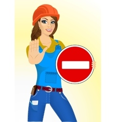 Builder woman holding a road sign vector