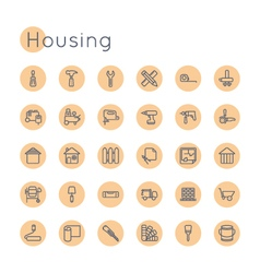 Round housing icons vector