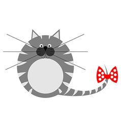 Cute thick grey striped cat vector
