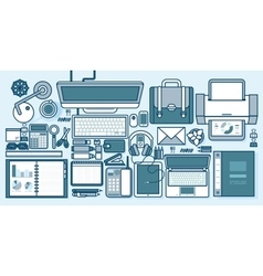 Office supplies gadgets stationery on desktop in vector