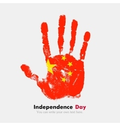 Handprint with the flag of china in grunge style vector