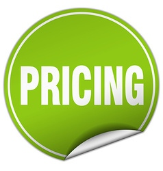Pricing round green sticker isolated on white vector