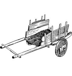Wooden empty cart vector image