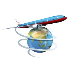 A plane travelling around the globe vector